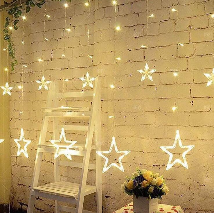 EU 220V 3M Romantic Fairy Star Led Curtain String Light Warm white Colorful Garland Light For Wedding Party Holiday Room Deco