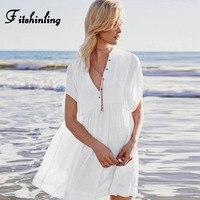 Fitshinling Botão up boho beach dress feminino casual magro sexy saída de uma linha branca vestidos de verão para as mulheres swimwear pareos venda