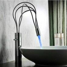Nueva llegada de la alta calidad material de latón cromado sola palanca diseño de nido de aves baño LED cuenca del grifo grifo del fregadero lavabo