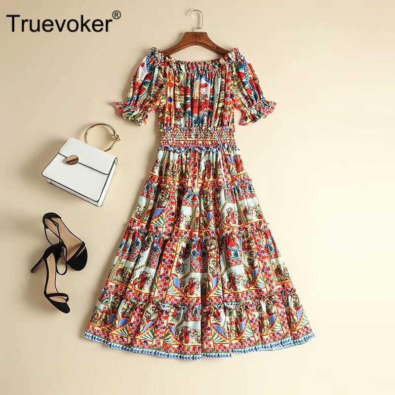 Truevoker Дизайнерские летние платья женские с коротким рукавом сексуальные с открытыми плечами винтажные этнические печатные миди-Резорт Vestidoes