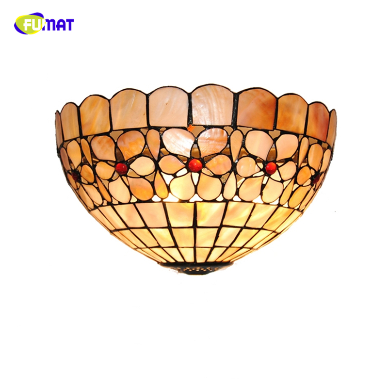 FUMAT Tiffany Natural Shell Wall Lamps LED Pearl Flowers Lampshade Wall Sconces Lights Home Decor BAR Living room Wall Lightings