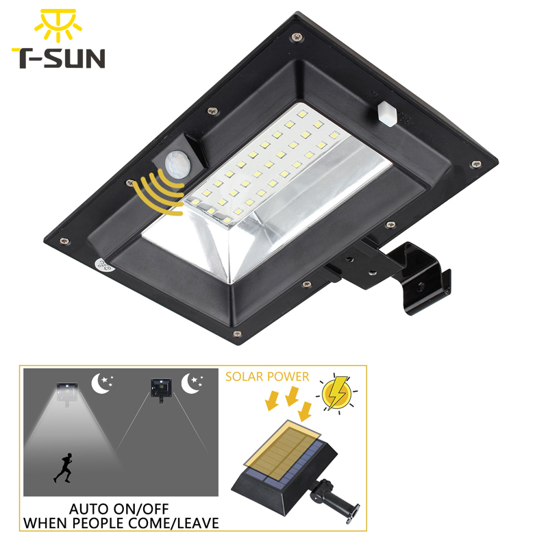 T-SUNRISE 30LED Solar Light PIR Motion Sensor Solar Gutter Light Outdoor Lighting Garden Solar Lamp Waterproof IP44 Street Light