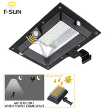 T SUNRISE 30LED Solar Light PIR Motion Sensor Solar Gutter Light Outdoor Lighting Garden Solar Lamp Waterproof IP44 Street Light