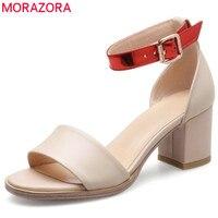 MORAZORA 2017 summer new arrive women high heels sandals fashion buckle genuine leather elegant ladies party shoes