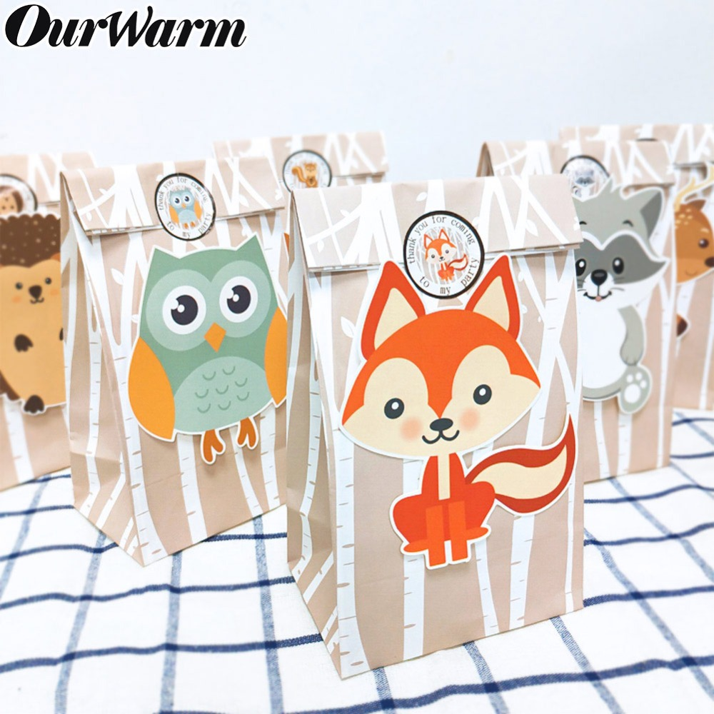 OurWarm 12pcs Birthday Party Decorations Kids Safari Paper Gift Bags Candy Bags Box Baby Shower Packing Bag Jungle Theme Party