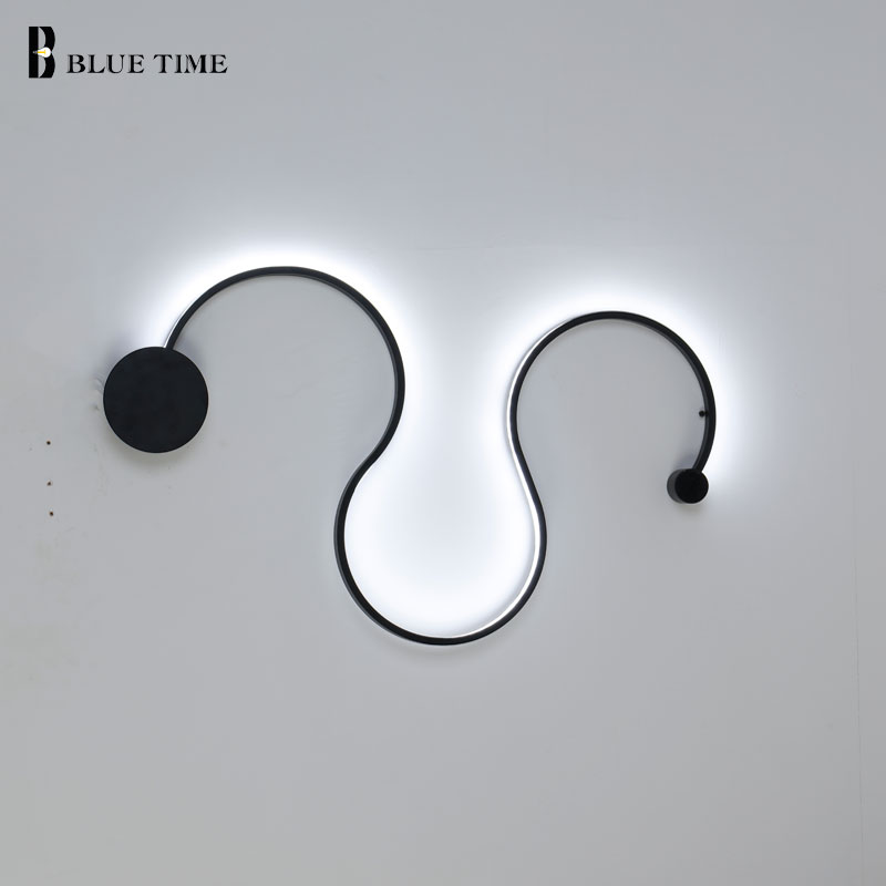 Home Modern LED Wall Light Black&White Frame Sconce Wall Lamp For Living room Bedroom Dining room Wandlamp Led Lustres AC90-260V noosion modern led ceiling lamp for bedroom room black and white color with crystal plafon techo iluminacion lustre de plafond