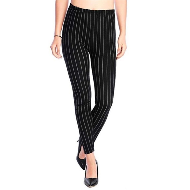 YGYEEG Vertical Striped Skinny Pencil Pants Women Elastic Waist OL Style Work Trousers Spring High Waist Elasticity Long Legging