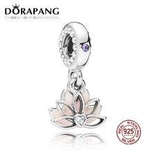 DORAPANG 100% 925 loto sereno flor colgante encanto pendiente para el regalo de la madre cupieron la pulsera DIY collar