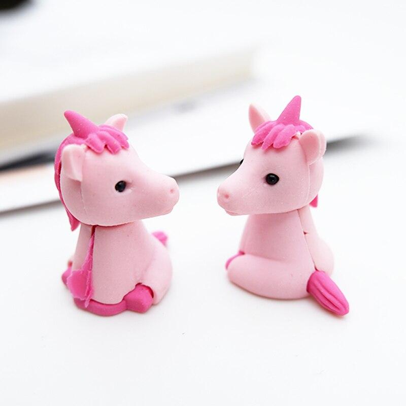 1pcs  Cartoon lovely Unicorn eraser children Learning stationery kawaii school supplies papelaria gift for kids Рыбная ловля