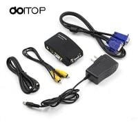 DOITOP AV To VGA Converter Switch Adapter Switcher Box AV To VGA PC Laptop Composite Video