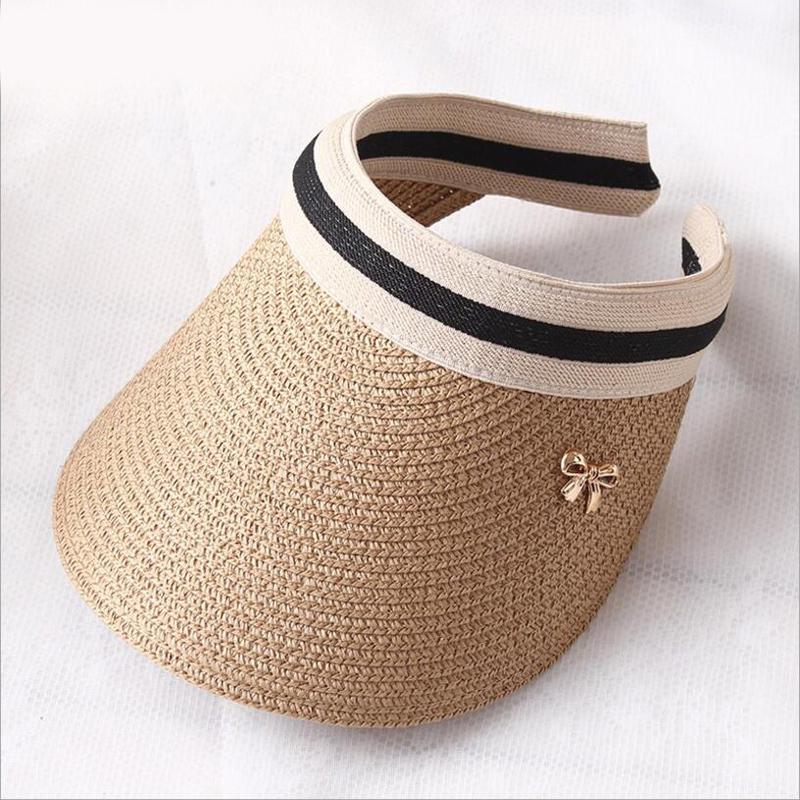 2019 New Women's Sun Hats Handmade Straw Visor Caps Parent Child Summer Hat Empty Top Beach Hat