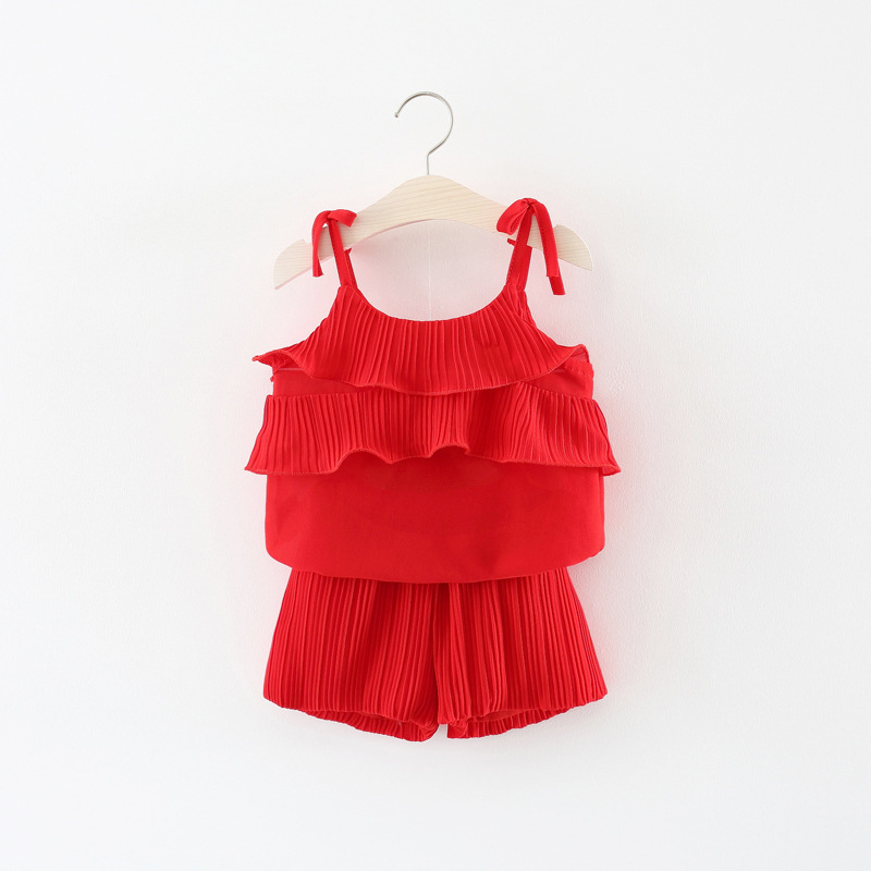 Summer Baby Girl Clothes Red/Pink Chiffon Tank Top + Shorts 2PCS Outfits Toddler Kids Cl ...