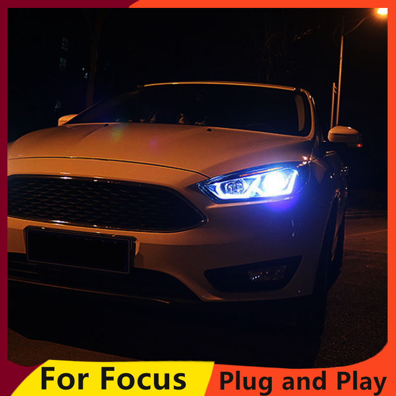 Image 3 - KOWELL Car Styling for Ford focus Headlights 2015 2016 2017 for focus Headlight DRL Lens Double Beam H7 HID Xenon bi xenon lens-in Car Light Assembly from Automobiles & Motorcycles