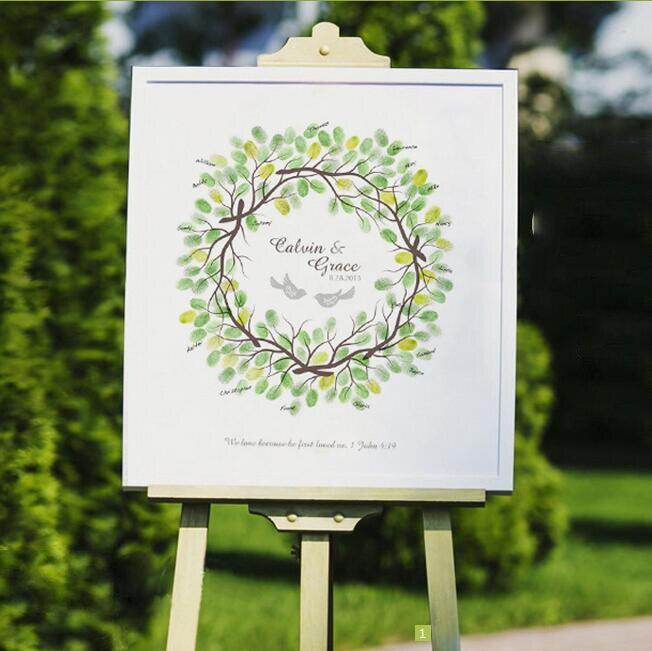 Personalized Wedding Canvas: 1pcs Personalized Fingerprint Wedding Guest Book Tree