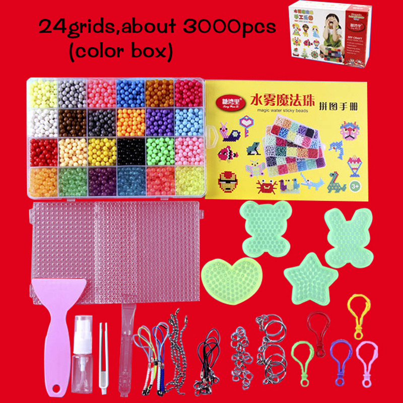 6000pcs 24 Colors Refill Beads Puzzle Crystal Beads DIY Water Spray Set Ball Games 3D Handmade Magic Toys For Children