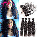 Natural Wave Lace Frontal Closure With Bundles 7a Brazilian Virgin Hair With Closure Curly Weave Human Hair Bundles With Frontal