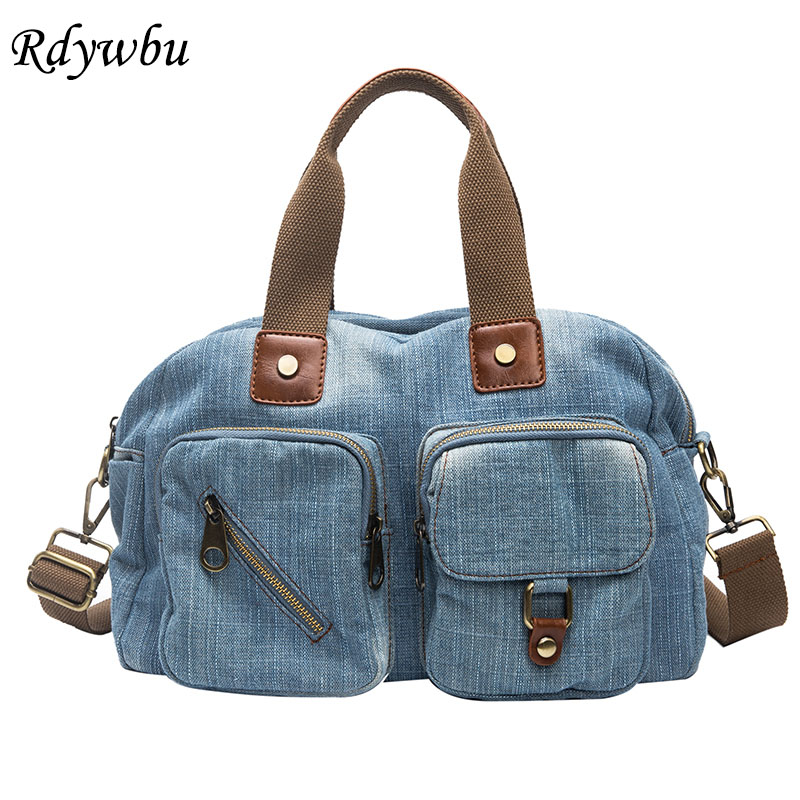 Rdywbu Women Denim Handbag New Casual Jeans Shoulder Bag High Quality Travel Crossbody Bag 2 Layers Tote Bags Mochila Bolsa B549