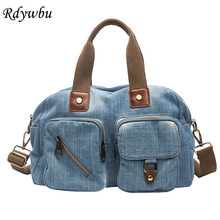 aa09dbc2962c Rdywbu Women Denim Handbag New Casual Jeans Shoulder Bag High Quality Travel  Crossbody Bag 2 Layers