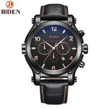 BIDEN Big Dial Luxury Men Watches Date Genuine Leather Military Quartz-watch Waterproof Sport Men Wrist Watch Montre Relojes