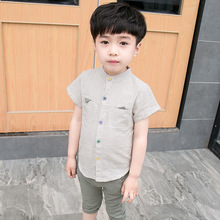 New Fashion Boys Cartoon Squirrel Print Clothing Sets for 2-9 Years Kids Short Sleeve Stripes Shirts+Boys Shorts for Summer 17B3