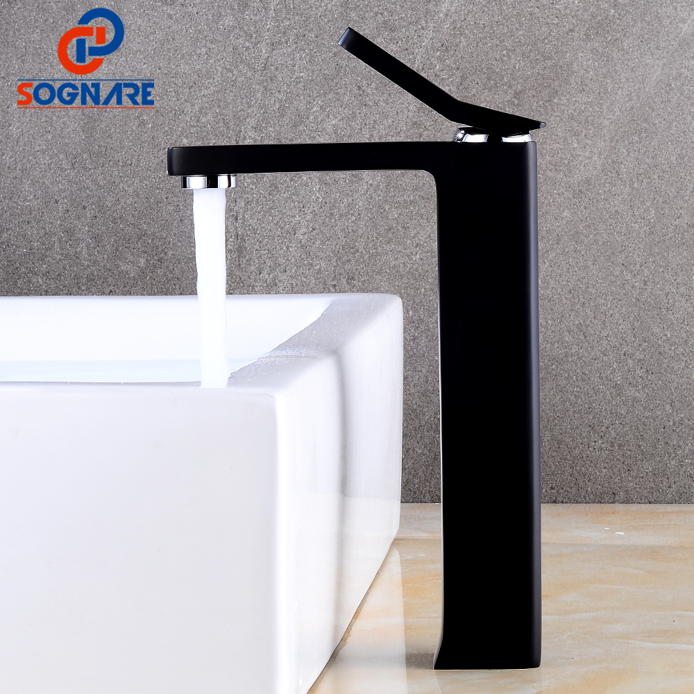 SOGNARE Contemporary Black Faucet for Bathroom Basin Mixer Brass Single Handle Deck Mounted Basin Faucet Sink Water Tap,Cold Hot luxury golden finish bathroom basin faucet single handle bathroom sink mixer faucet crane tap brass hot cold water deck mounted