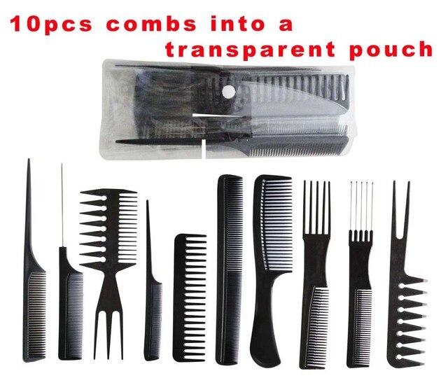 10pcs Professional Salon Hair Styling Hairdressing Black Plastic Barbers Brush Combs Set Comb