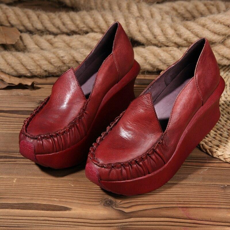 Cuero Las Tacón Genuino 2019 Costura Alto Mujeres Primavera Nueva Zapatos Retro Casual Redonda otoño Bombas Johnature Mujer Punta rojo De Negro xYXf7qcZ7w