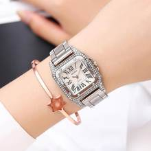 2019 New Luxury Ladies Square Diamond Quartz Dress Bracelet Watch Women Silver Steel Female Clock relojes mujer relogio feminino(China)