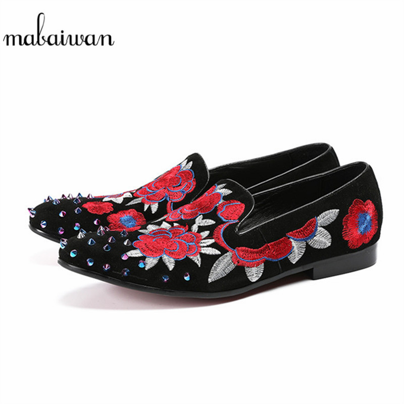 Mabaiwan New Fashion Casual Men Shoes Black Suede Loafers Colorful Rivet Slipper Embroidery Wedding Dress Shoes Men Party Flats mabaiwan fashion men shoes handcrafted embroidery flowers designs loafers smoking slipper wedding dress shoes men party flats