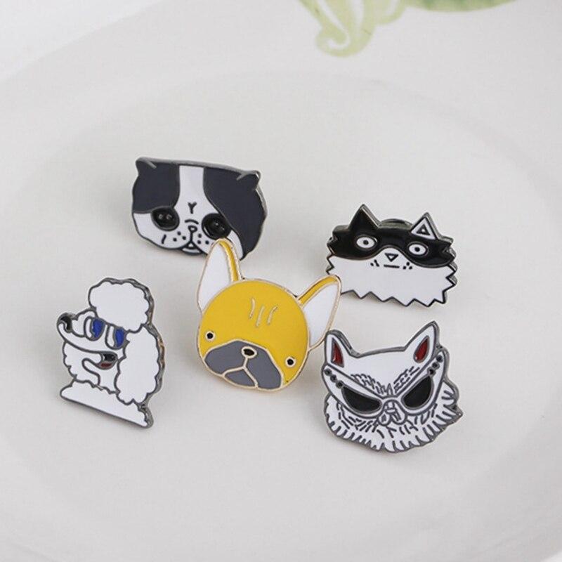 1 Stück Niedliche Cartoon-tier Brosche Nette Tier Bulldog Wurst Emaille Brosche Hund Abzeichen Dekoration Haustier Hund Tuch Gedenk Brosche