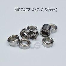 MR74ZZ 4*7*2.5(mm) 10pieces bearing Metal sealed free shipping ABEC-5 chrome steel miniature bearings hardware Transmission Part