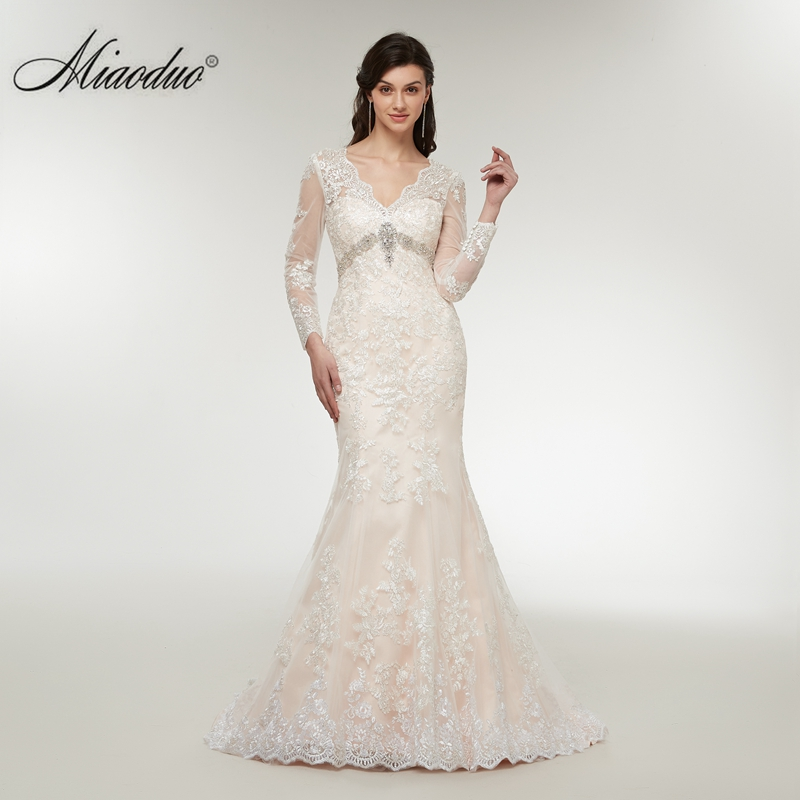 Miaoduo Vestidos De Novia Lace Appliques Wedding Dress Mermaid Wedding Dresses 2018 Robe De Mariage vestido