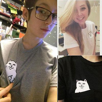 2016 New Summer Fashion Pocket Harajuku Cat Lovers Women Top Short-sleeve T shirt Cute Sweet Style Black/White/Grey Plus Size 3