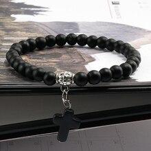 W stylu Vintage Boho mężczyźni kamień naturalny bransoletka wisiorek wisiorek krzyż koraliki bransoletki kobiety Strand bransoletki Reiki modlitwa łańcuch biżuteria joga