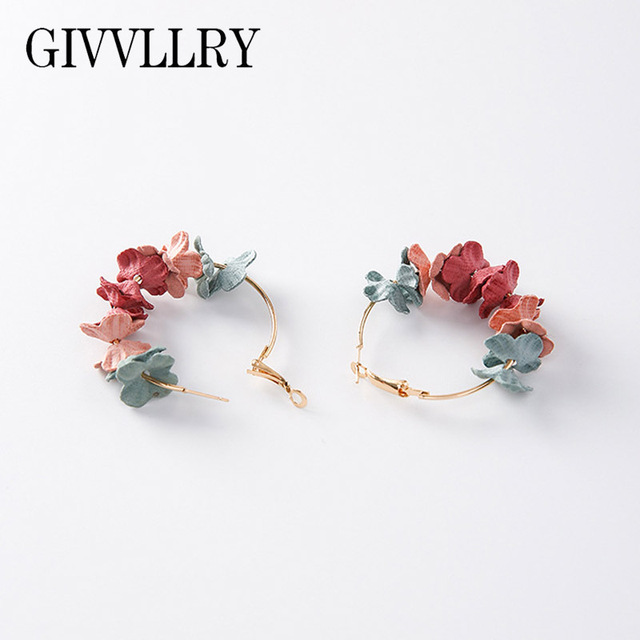 Givvllry Flower Hoop Earrings For Women Pink Green Blue Contrast Color Fabrics Petal Round