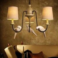 Творческий смолы птица Droplight тканевый абажур Винтаж светодиодный подвесной светильник светильники для столовой подвесной светильник Осве