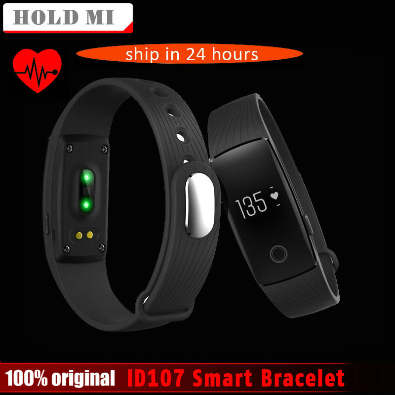 Hold Mi ID107 Bluetooth 4.0 Smart Bracelet smart band Heart Rate Monitor Wristband Fitness Tracker for Android iOS Smartphone