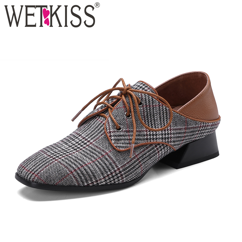 WETKISS Lattice Cloth Women Pumps Genuine Leather Square Toe Square Heel Lace Up Footwear 2018 New Spring Retro Ladies Shoes