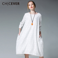 CHICEVER Autumn Dress Female Three Quarter Sleeve Loose Plus Size O Neck Women Dresses Clothes Fashion