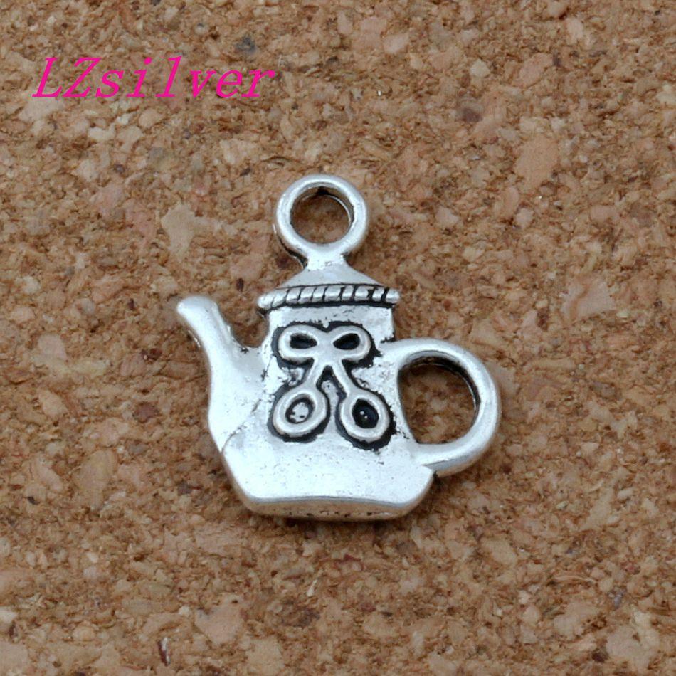 100pcs Antique Silver zinc alloy Single-sided Teapot Charms Pendants 14x16 mm DIY Jewelry A-136