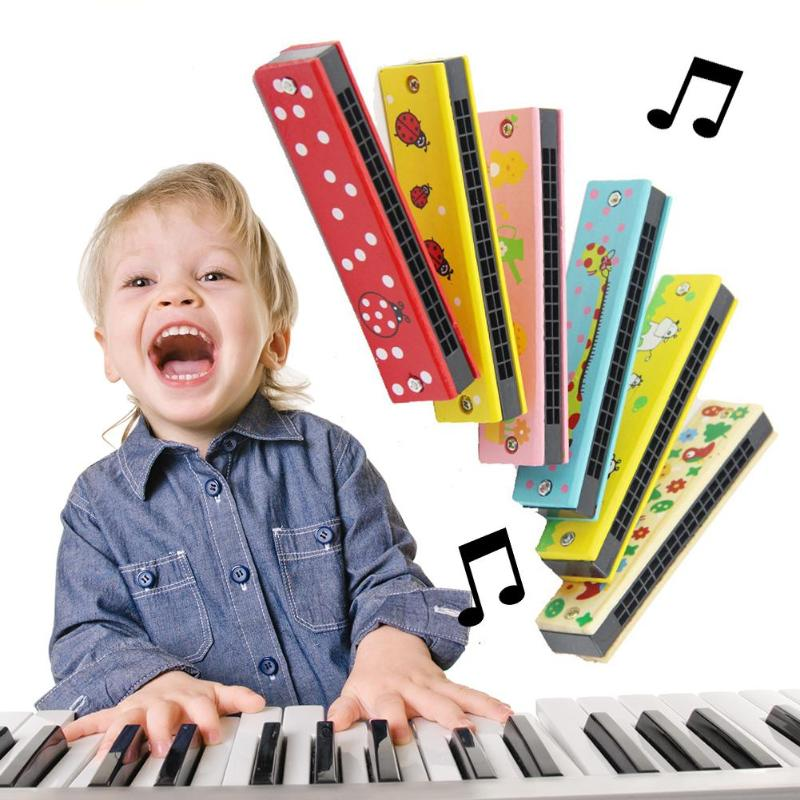 Musical Toys 16 Holes Harmonica Wooden Harp Cartoon Woodwind Kids Music Instrument Montessori Educational Children Baby Toys