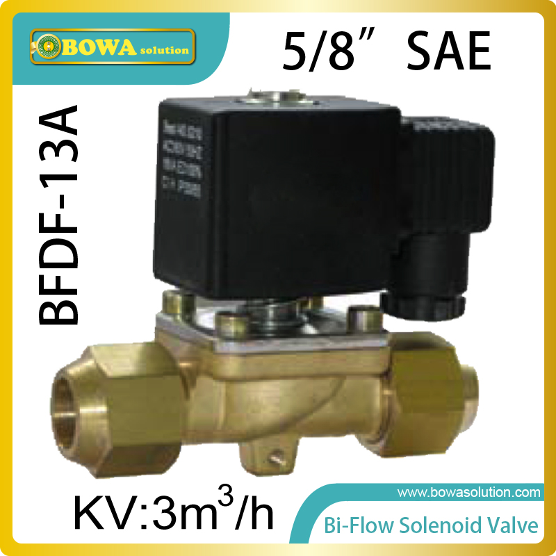 5/8 Bi-flow solenoid valves are mainly used for the defrosting  of air source heat pump unit reduce the amount of  check valves thermo operated water valves are used for proportional regulation of flow quantity depending on the setting and the sensor