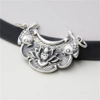 JINSE Retro Thai Silver Carved Lotus And Double Fish Pendant 999 Sterling Silver New Year Wish