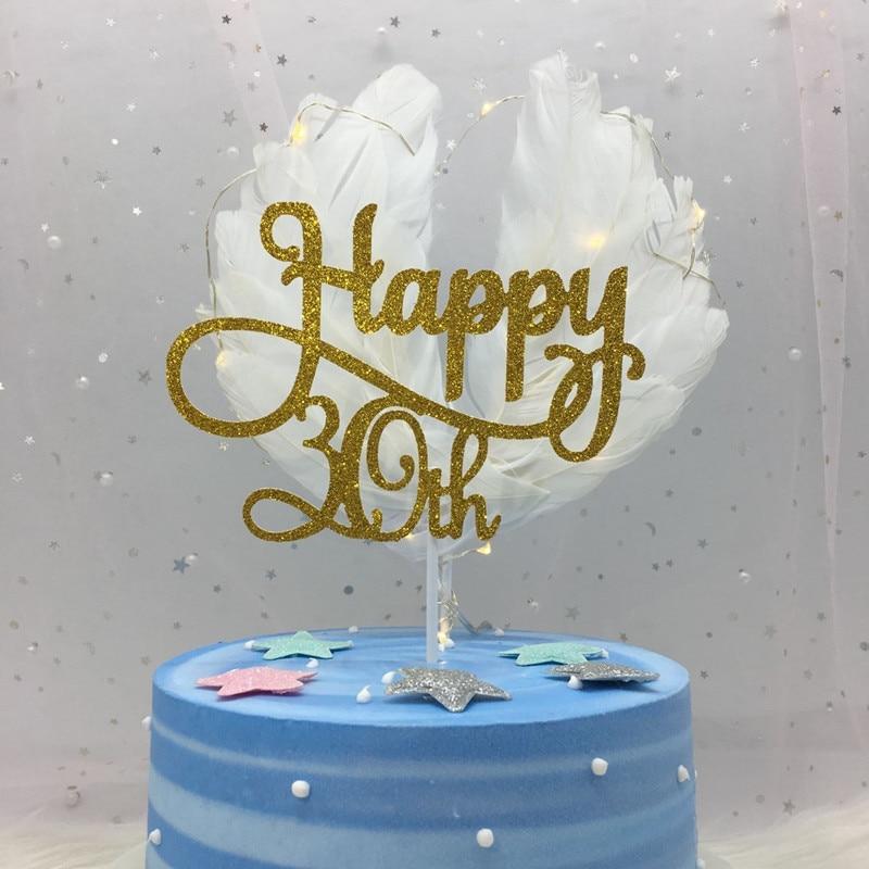 Ouro/Prata/Preto Avançada Brilho Feliz 30 40 50 60th Bolo Topper Quinquagésimo Aniversário Decorações Do Partido Do Bolo Acessório suprimentos