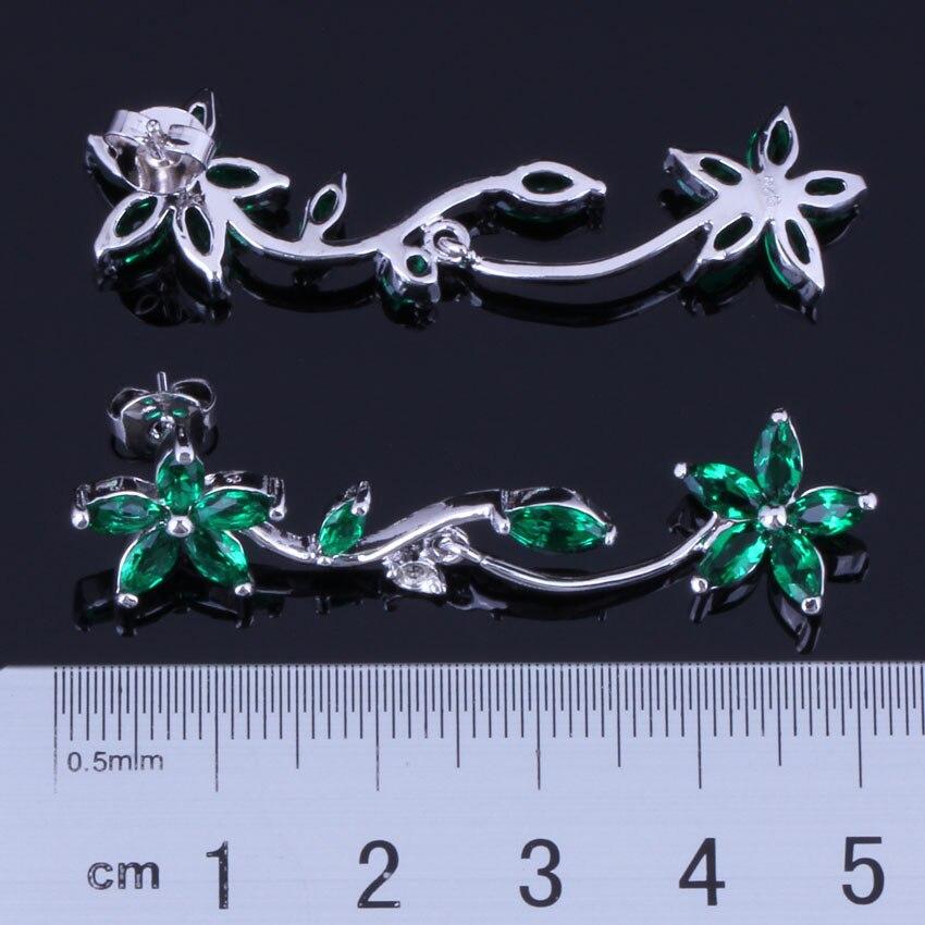 Unique Flower Green Cubic Zirconia 925 Sterling Silver Drop Dangle Earrings For Women V1021 in Drop Earrings from Jewelry Accessories