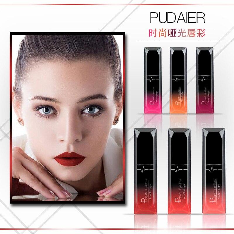 PUDAIER Waterproof Matte Velvet Glossy Lip Gloss Lipstick Lip Balm Sexy Red Lip Tint 21 Colors Women Fashion Makeup Gift