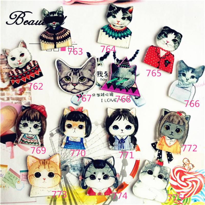 1 PCS Harajuku Icons For Clothes Dressed Cat Icon Badges For Backpack Cartoon Decoration Kawaii Pin Acrylic Brooches To Pass
