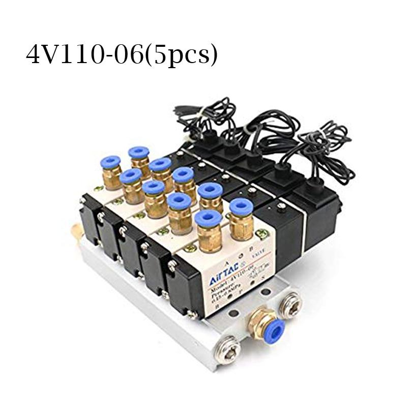 DC 12V 24V 5 Pneumatic Solenoid Valve 4V110 06 Muffler 4mm 6mm 8mm 10mm 12mm Quick