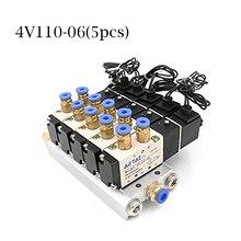 Dc 12ボルト24ボルト5空気圧電磁弁4v110 06マフラー4ミリメートル6ミリメートル8ミリメートル10ミリメートル12ミリメートルクイック継手ベースセット交流110ボルト220ボルト4v110 06