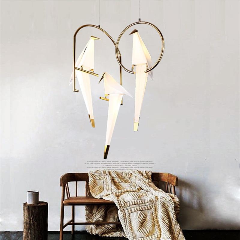IKVVT moderne papier grue métal lustre pour Restaurant salon salle à manger chambre d'enfants LED oiseau Design suspension - 4